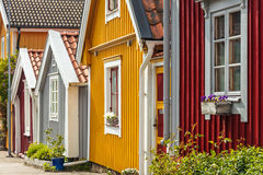 Ancient wooden houses in Karlskrona, Sweden Royalty Free Stock Images