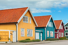 Ancient wooden houses in Karlskrona, Sweden Stock Photo
