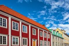 Ancient wooden houses in Karlskrona, Sweden. Row of ancient colorful wooden houses in the city of Karlskrona, Sweden Stock Image