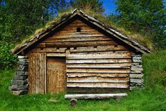 Ancient wooden hut. Ancient fisherman's  wooden hut  in ethnic park of Alesund, Norway Stock Images