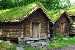 Ancient wooden huts Royalty Free Stock Photography
