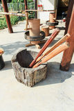 Ancient wooden mortar Royalty Free Stock Photography