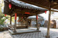 Ancient wooden pavilion stock image