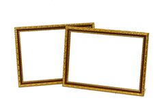 Ancient wooden photo frame isolated on white background. Royalty Free Stock Photography