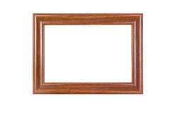 Ancient wooden photo frame isolated on white background. Stock Images