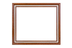 Ancient wooden photo frame isolated on white background. Stock Image