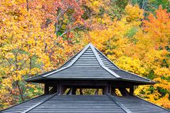 Ancient wooden roofing detail with autumn foliage background. Ancient wooden roofing detail with yellow and red autumn foliage background stock photo