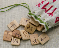 Ancient wooden runes, slavic old magic, futark Stock Images