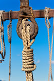 Ancient wooden sailboat deadeye Royalty Free Stock Images