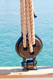 Ancient wooden sailboat deadeye Royalty Free Stock Photography