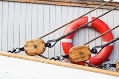 Ancient wooden sailboat pulleys and ropes Royalty Free Stock Photography