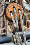 Ancient wooden sailboat pulleys Royalty Free Stock Photography