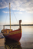Ancient wooden ship. Is in a bay near the pier Royalty Free Stock Photo