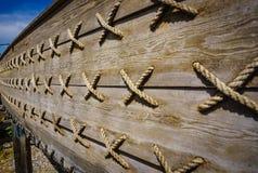 Ancient wooden shipwreck reconstruction detail on land, Urla, Izmir, Turkey. Ancient Greek culture, Kyklades ship stock photos