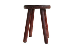 Ancient wooden stool. Isolated on a white background Stock Image