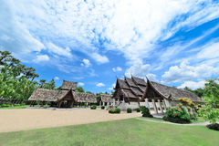 Ancient wooden teak temple of Lanna architecture with fine woodc Stock Photography
