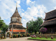 Ancient wooden temple in Chiang Mai, Thailand Royalty Free Stock Photo