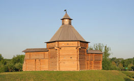 Ancient wooden tower in Kolomenskoye Stock Photo