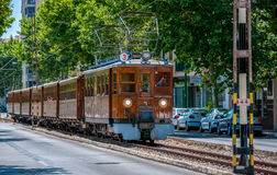 Ancient wooden train going to the city of Soller royalty free stock image