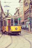 The ancient wooden tram in Milan. Royalty Free Stock Images