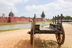 Ancient wooden wagon  the old palace. Royalty Free Stock Photo