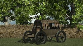 Ancient wooden wagon with top in front stone wall and trees Royalty Free Stock Images