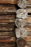 Ancient wooden wall - logs close up stock photos