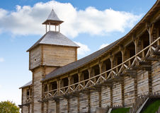 Ancient wooden watch tower and fortification Royalty Free Stock Image