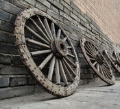 Ancient wooden wheels, West Gate of Xian City, China Royalty Free Stock Image