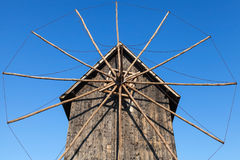 Ancient wooden windmill, popular landmark of old Nessebar Stock Photography