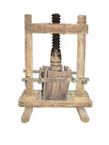 Ancient wooden wine press isolated on white background Royalty Free Stock Photo