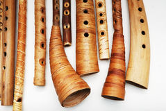 Ancient woodwind folk instruments Royalty Free Stock Photos