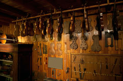 Ancient workshop of a luthier Stock Photo