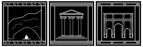 Ancient world architectural styles icons Royalty Free Stock Photos