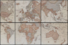 Ancient world map's collage. Collage of an ancient geographic map of the world with names of the countries royalty free stock images
