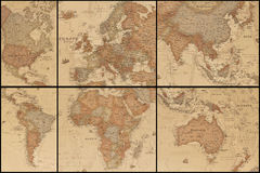 Ancient world map's collage. Collage of an ancient geographic map of the world with names of the countries stock photos