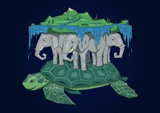 Free Ancient World Model, Mythical Flat Earth Concept. Diskworld Resting On Elephants And Turtle. Flat Line Vector Stock Photography - 123288122