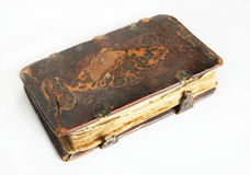 Ancient worn book with leather cover Stock Images