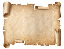 Ancient worn parchment illustration isolated on white royalty free stock images