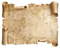 Ancient worn treasure map isolated stock photography