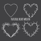 Ancient  wreath, text dividers and borders with laurel leaves,. Hand drawn  illustration. Vintage decorative lovely laurels and heart shaped wreaths. decorative Royalty Free Stock Image
