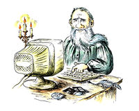 Ancient writer behind the computer royalty free illustration