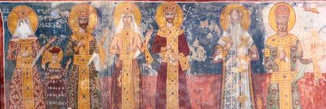 Ancient XVI century fresco in Gelati Monastery Georgia Royalty Free Stock Images