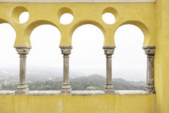 Ancient yellow arches in the Palacio da Pena Stock Photo