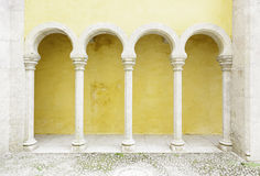 Ancient yellow arches in the Palacio da Pena Royalty Free Stock Photos