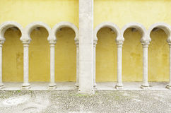 Ancient yellow arches in the Palacio da Pena Royalty Free Stock Image