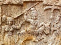 Bangalore, Karnataka, India - September 8, 2009 Ancient stone sculpture of Hindu deities at Government museum. Ancient yellow, gray art stone sculpture of a Royalty Free Stock Photos