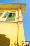 Ancient yellow house - outside high angle Stock Image