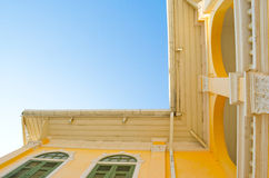 Ancient yellow house - outside right angle Stock Photos