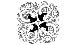Ancient zodiac ornament of Aries royalty free illustration